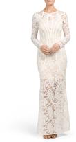 Juniors Long Sleeve Lace Maxi Dress