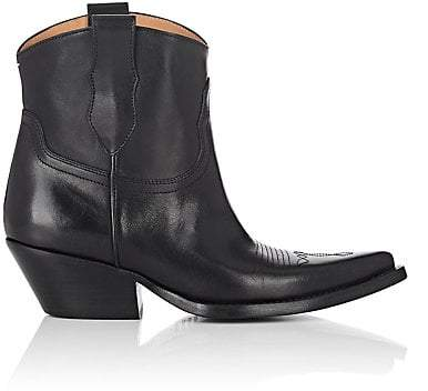 Maison Margiela Women's Leather Western Ankle Boots - Black