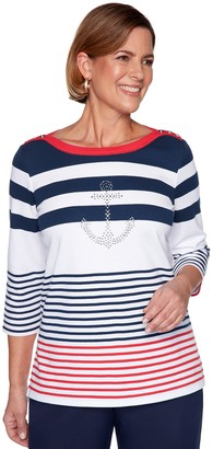 Alfred Dunner Women's Anchor Stripe Top