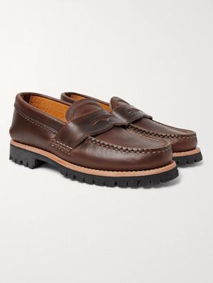 Yuketen Burnished-Leather Penny Loafers