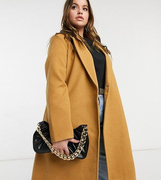 Vero Moda Curve tailored wrap coat in camel