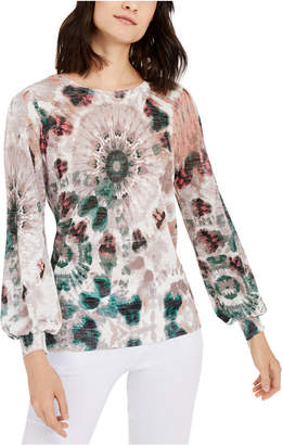 INC International Concepts Inc Tie-Dyed Volume-Sleeve Sweater
