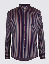 M&s Collection Pure Cotton Striped Shirt with Pocket
