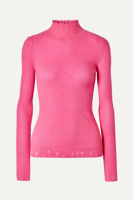 Les Rêveries Distressed Cashmere Turtleneck Sweater - Pink