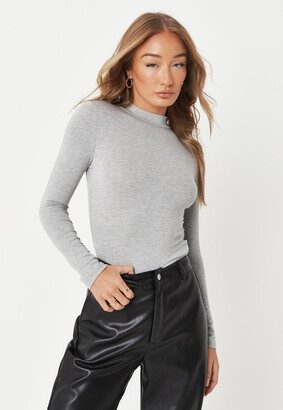 Missguided Grey Funnel Neck Long Sleeve Top