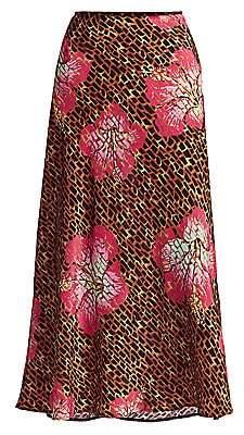 Rixo Women's Kelly Floral & Giraffe Print Silk Slip Skirt
