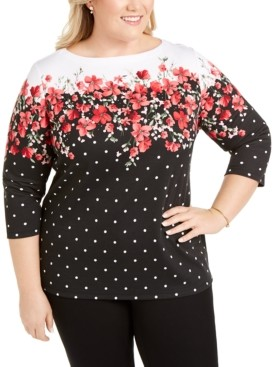 Karen Scott Plus Size Emily Embellished Boat-Neck Top, Created for Macy's