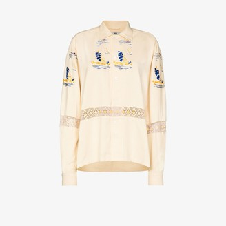 Bode Sailing Tableau embroidered shirt