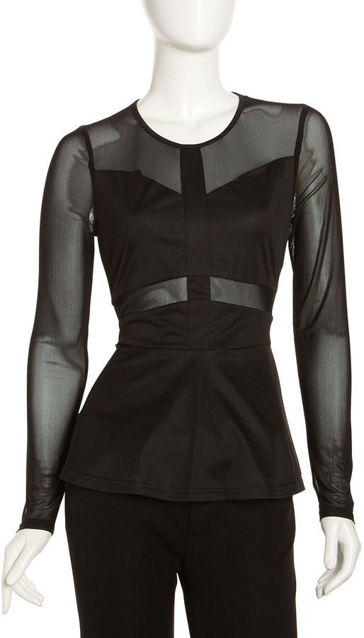 Romeo & Juliet Couture Mesh-Inset Peplum Top, Black