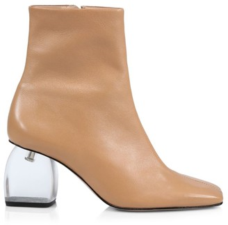 Schutz Tierra Square-Top Acrylic-Heel Leather Boots