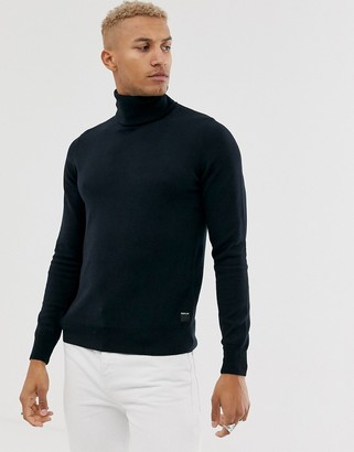 Replay tab logo wool mix polo neck jumper in navy