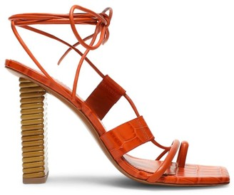 Mercedes Castillo Violette Ankle-Wrap Square-Toe Croc-Embossed Leather Sandals