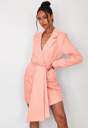 Missguided Petite Peach Belted Blazer Dress