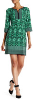 Maggy London 3/4 Length Sleeve Placed Print Shift Dress