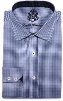 English Laundry Small-Check Woven Dress Shirt, Navy