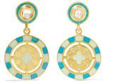 Amrapali 18-karat Gold, Diamond And Enamel Earrings