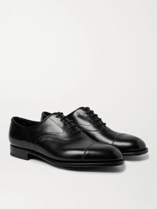 Edward Green Chelsea Cap-Toe Burnished-Leather Oxford Shoes - Men - Black