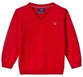 Gant Red Cotton V-Neck Jumper