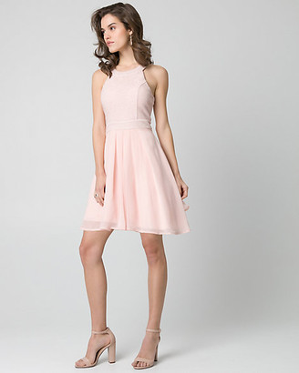 Le Château Sparkle Knit & Chiffon Halter Party Dress