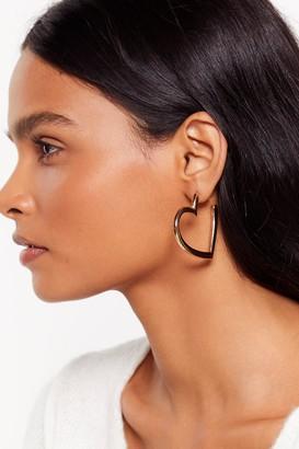 Nasty Gal Womens Let Your Heart Decide Hoop Earrings - Metallics - ONE SIZE, Metallics