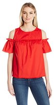 Democracy Women's Ruffle Yoke Cold Shoulder Top
