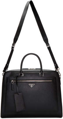 Prada Black Saffiano Travel Briefcase