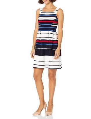 Adrianna Papell Women's Petites Sleeveless Ottoman Stripe Fit and Flare Dress