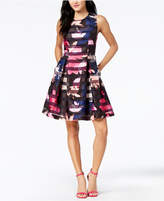 Vince Camuto Floral Shadow-Stripe Fit and Flare Dress