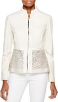 Elie Tahari Laser-Cut Grace Leather Jacket