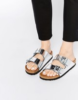 Birkenstock Arizona Metallic Silver Narrow Fit Slider Flat Sandals