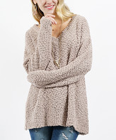Ash Lydiane Women's Pullover Sweaters  Mocha V-Neck Popcorn-Knit Long-Sleeve Sweater - Women