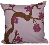 16 in. x 16 in. Floral Branch Polyester Pillow in Purple
