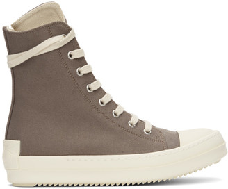 Rick Owens Grey Licence Plate High Sneakers