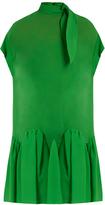 DELPOZO Tie-neck drop-waist silk dress
