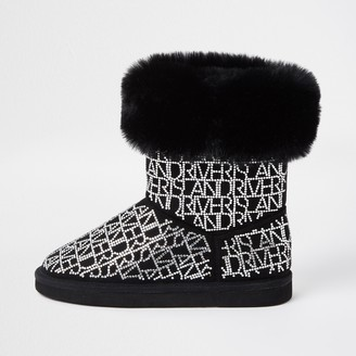River Island Girls Black embellished faux fur lined boots