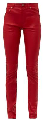 Saint Laurent Slim Fit Leather Trousers - Womens - Red