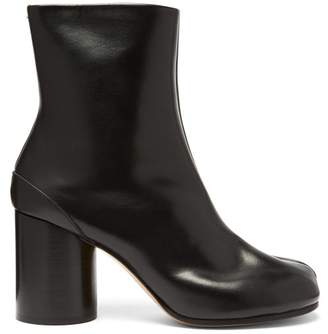 Maison Margiela Tabi Split Toe Leather Ankle Boots - Womens - Black