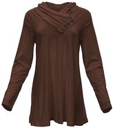 Azalea Brown Button-Accent Tunic - Plus Too
