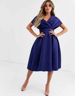 ASOS DESIGN fallen shoulder midi prom dress with tie detail in navy blue