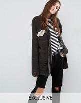Reclaimed Vintage Distressed Boyfriend Cardigan With Mom Patch