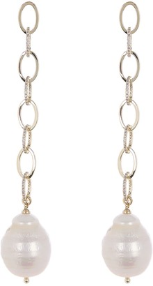 Carolee Diana Gold Plated Pave CZ Freshwater Pearl Link Drop Earrings