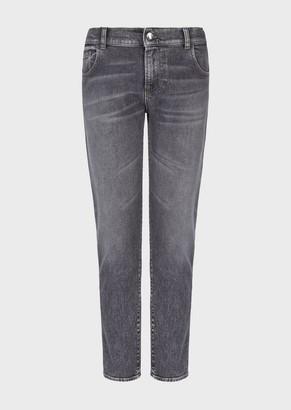 Emporio Armani Regular Fit J36 Jeans In Marbled Denim