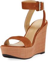 Truex High Wedge Platform Sandal, Saddle