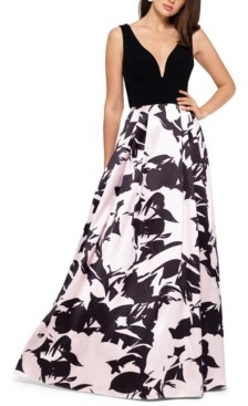 Betsy & Adam Floral-Print Gown