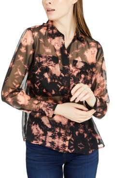 INC International Concepts Inc Sheer Tie-Dyed Shirt, Created for Macy's