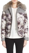 Belstaff Women's 'Wilkins' Polar Print Down Coat With Removable Genuine Coyote Fur Collar