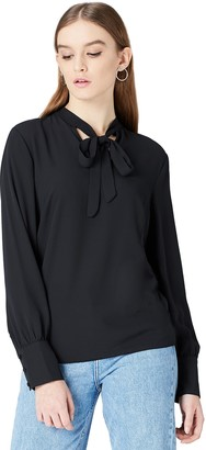 Find. Amazon Brand Women's Blouse with Long Sleeve and Reverse Split Hem