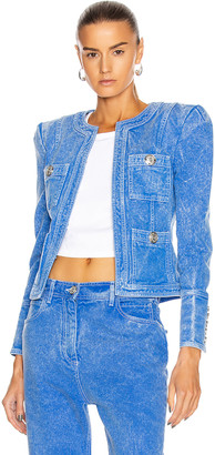 Balmain Collarless Acid Wash Denim Jacket in Blue & White | FWRD