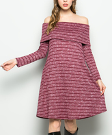 Sweet Pea Dark Wine Stripe Pocket Off-Shoulder Dress