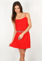 Parker Pleated Cami Dress with Sequin Detail in Red -